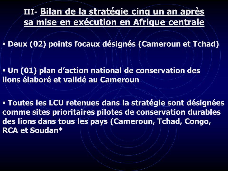 III- Bilan de la stratégie cinq un an après sa mise en exécution en Afrique centrale