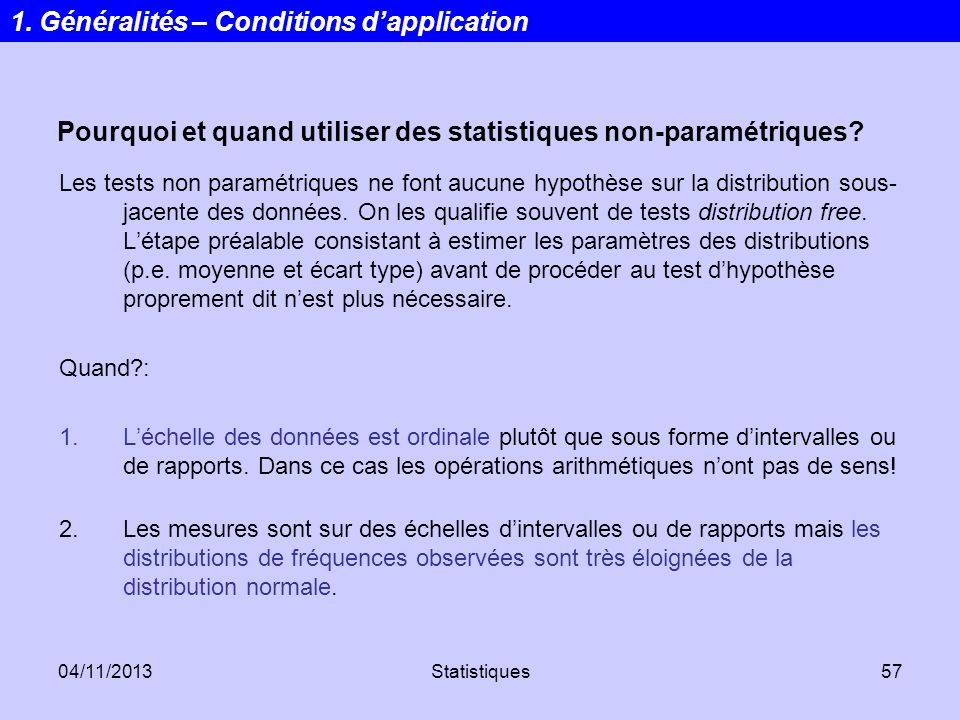 1. Généralités – Conditions d'application
