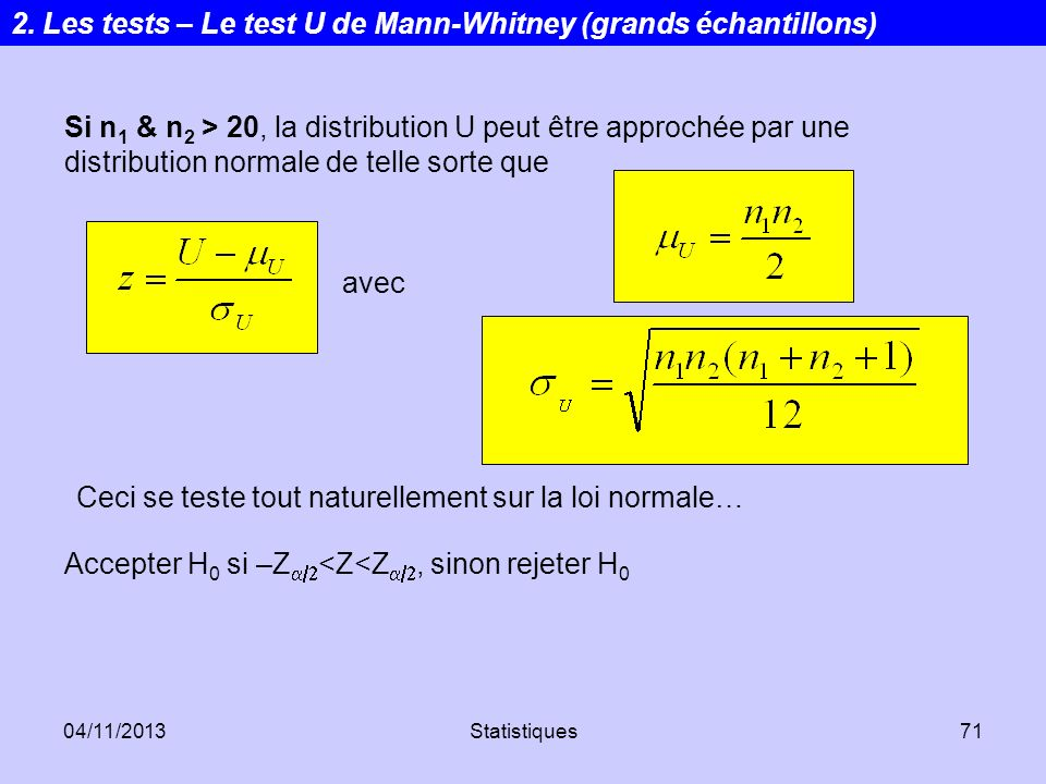 2. Les tests – Le test U de Mann-Whitney (grands échantillons)