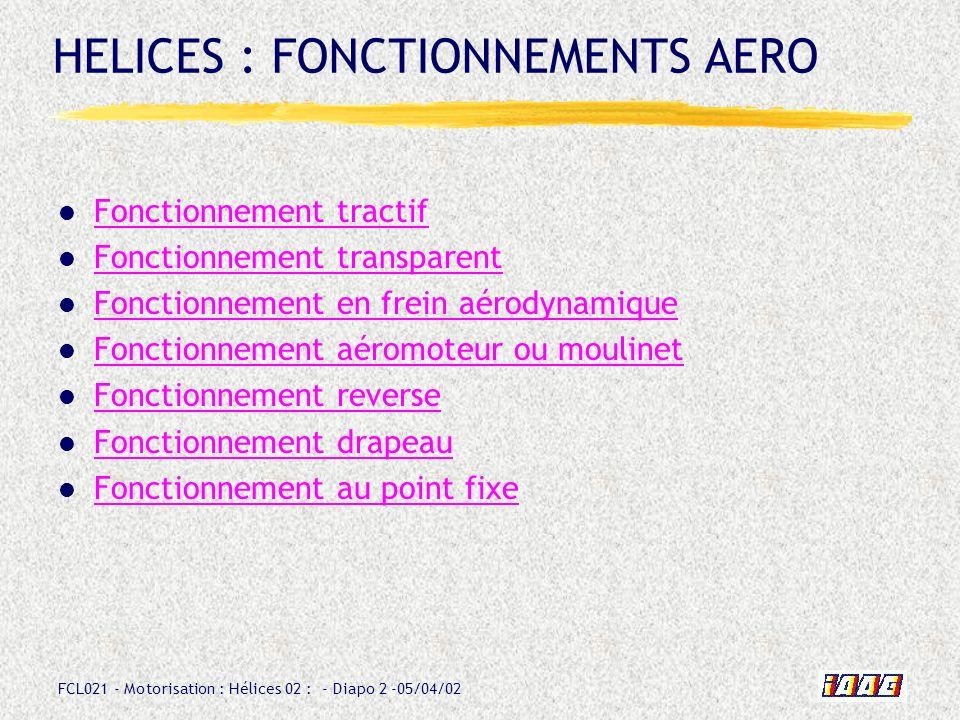 HELICES : FONCTIONNEMENTS AERO