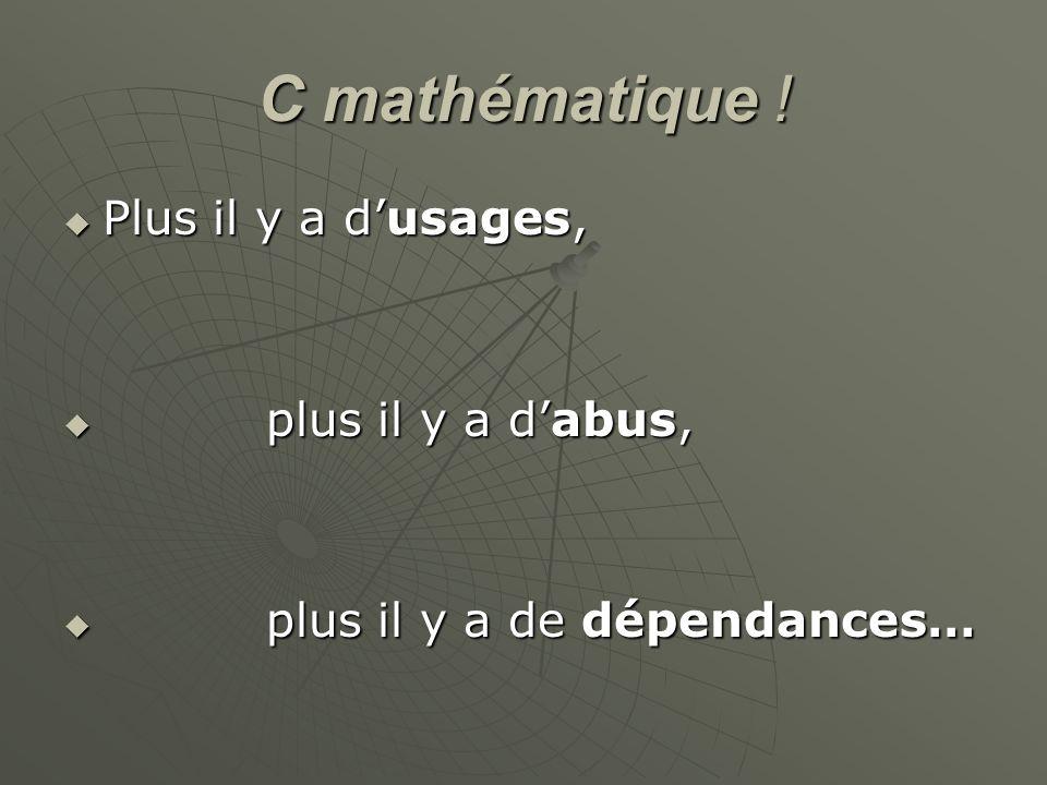 C mathématique ! Plus il y a d'usages, plus il y a d'abus,
