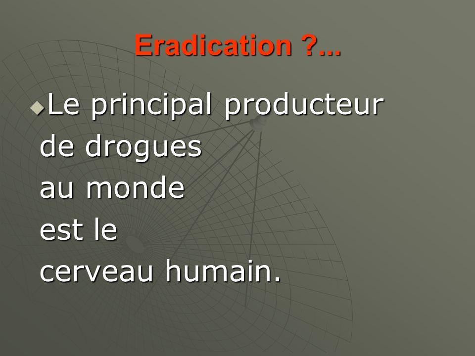 Eradication ... Le principal producteur de drogues au monde est le cerveau humain.