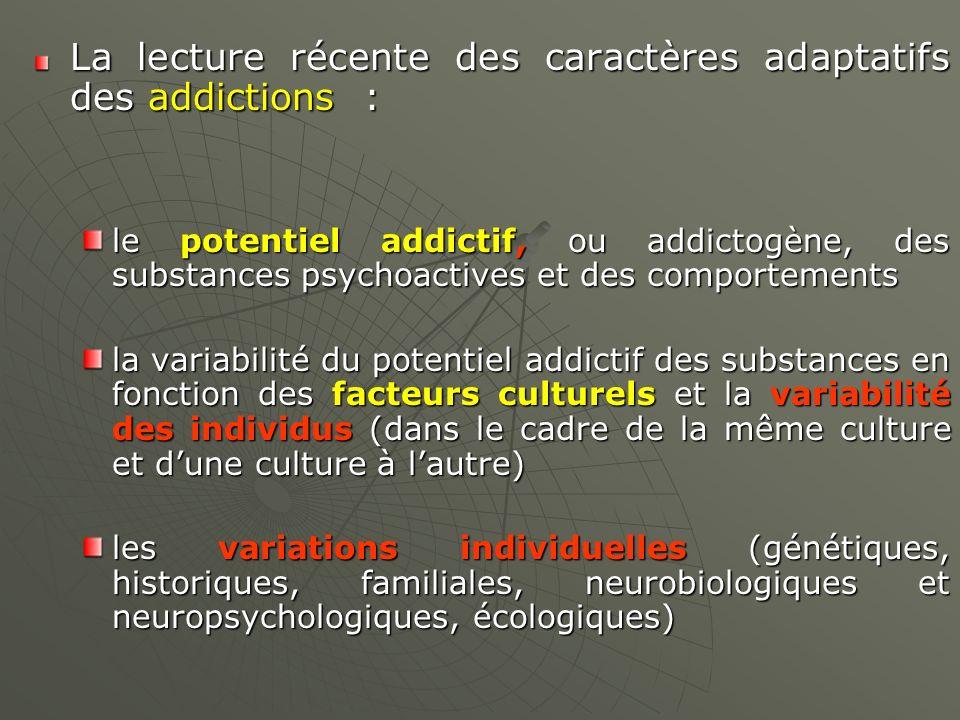 La lecture récente des caractères adaptatifs des addictions :