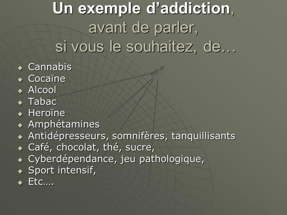 Un exemple d'addiction, avant de parler, si vous le souhaitez, de…