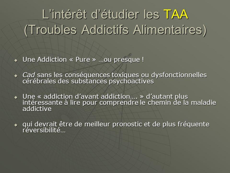 L'intérêt d'étudier les TAA (Troubles Addictifs Alimentaires)