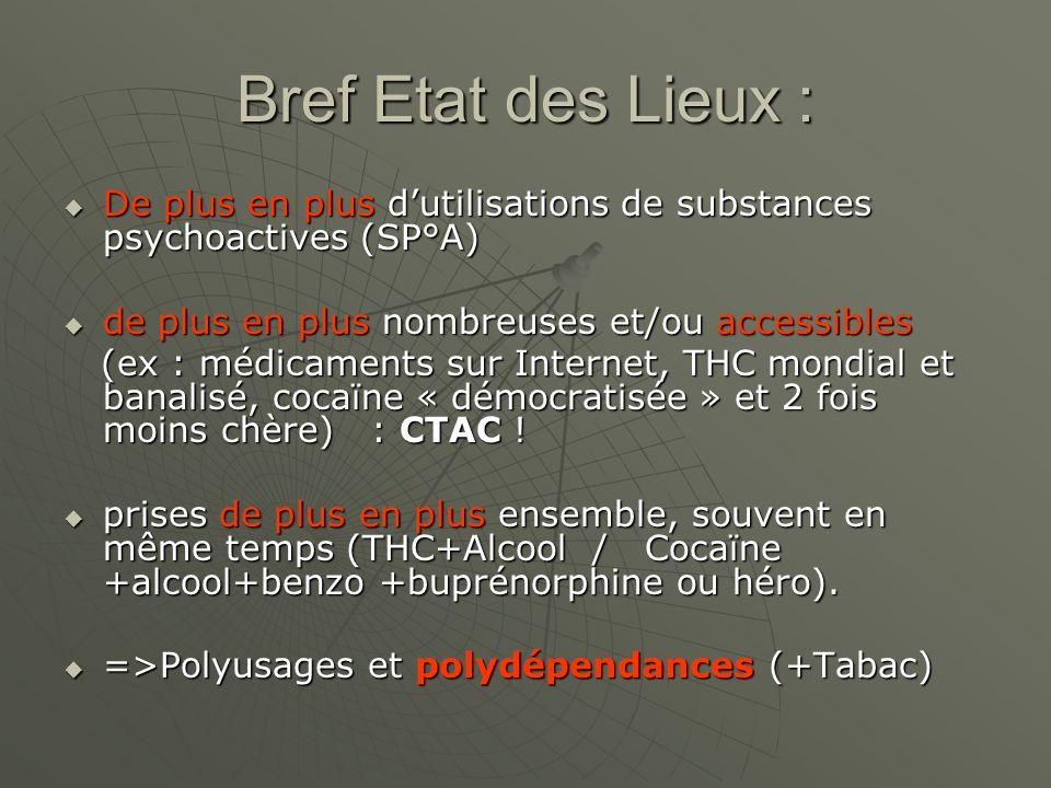 Bref Etat des Lieux : De plus en plus d'utilisations de substances psychoactives (SP°A) de plus en plus nombreuses et/ou accessibles.