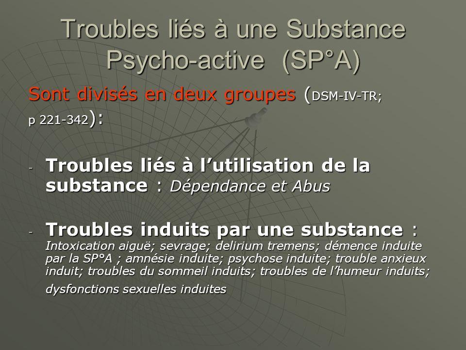 Troubles liés à une Substance Psycho-active (SP°A)