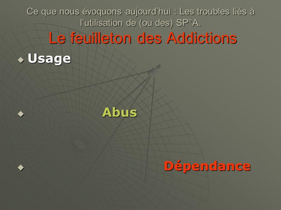Ce que nous évoquons aujourd'hui : Les troubles liés à l'utilisation de (ou des) SP°A. Le feuilleton des Addictions