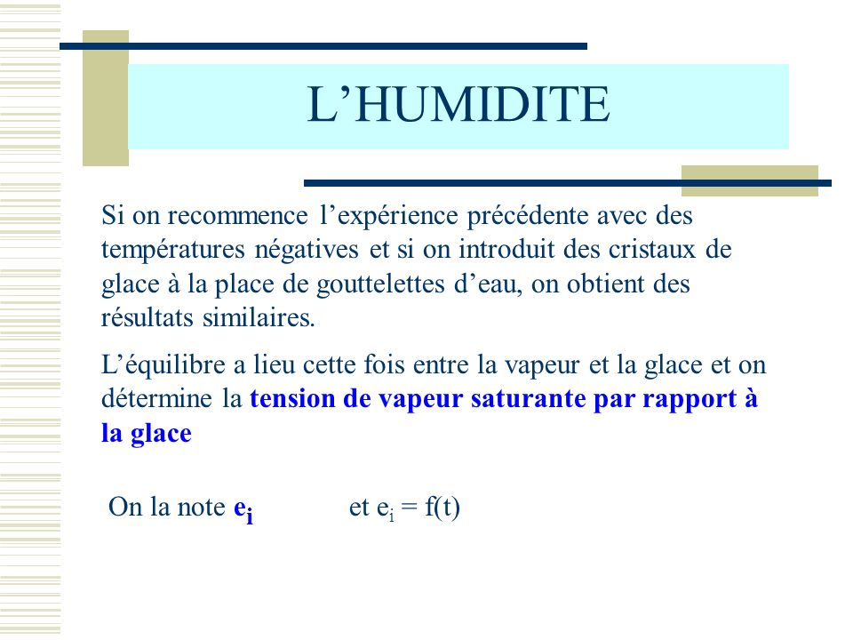 L'HUMIDITE