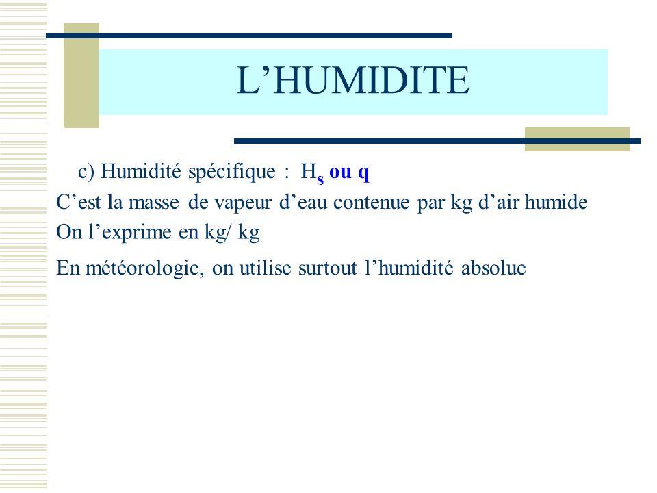 L'HUMIDITE c) Humidité spécifique : Hs ou q