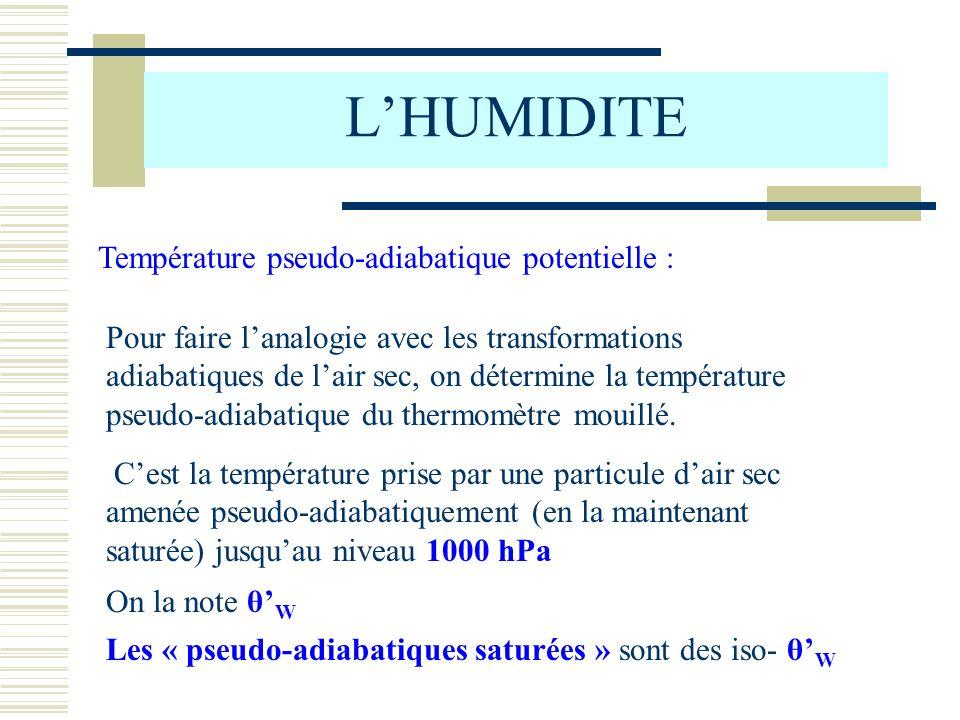 L'HUMIDITE Température pseudo-adiabatique potentielle :