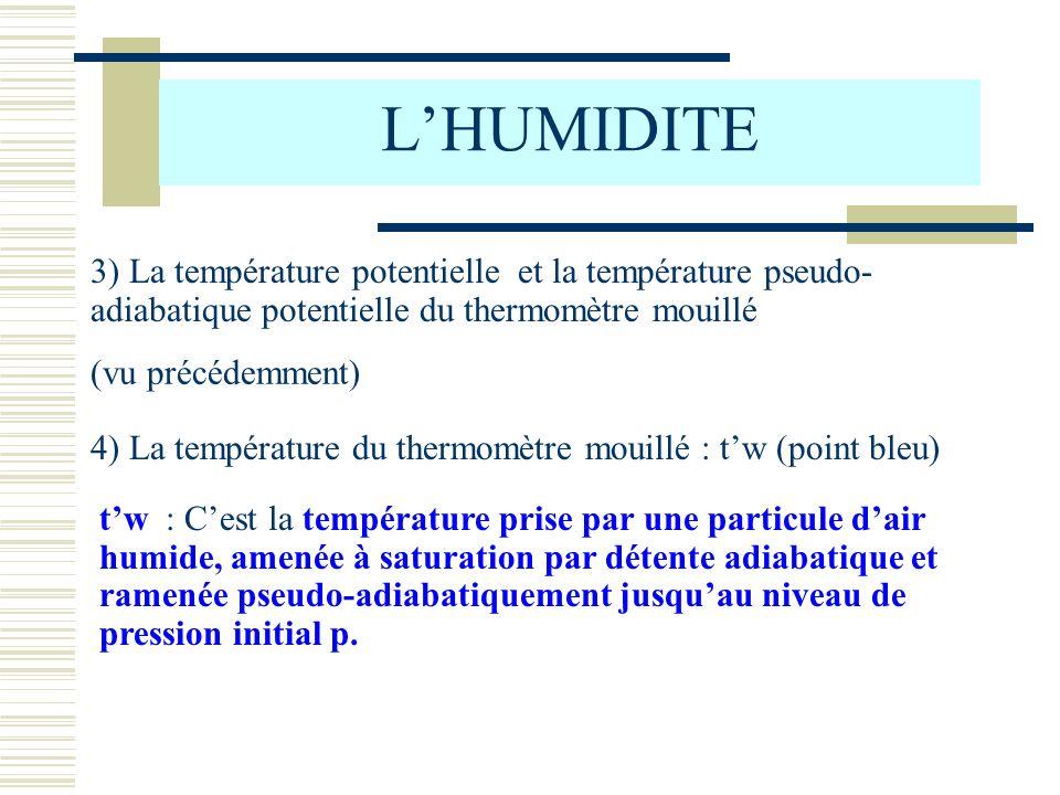 L'HUMIDITE 3) La température potentielle et la température pseudo-adiabatique potentielle du thermomètre mouillé.