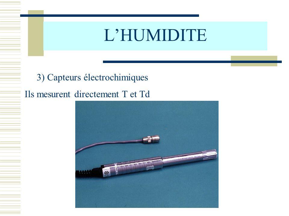 L'HUMIDITE 3) Capteurs électrochimiques