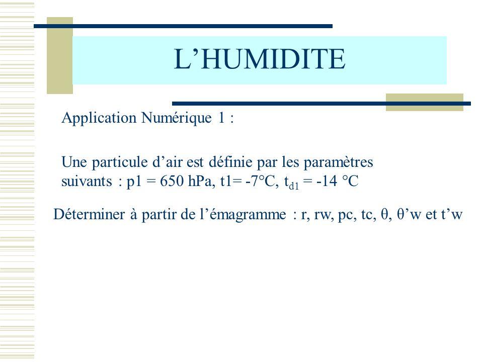 L'HUMIDITE Application Numérique 1 :