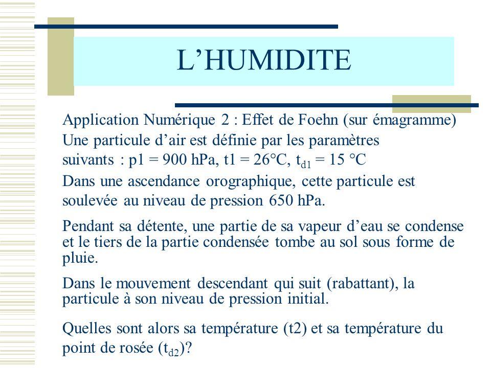 L'HUMIDITE Application Numérique 2 : Effet de Foehn (sur émagramme)