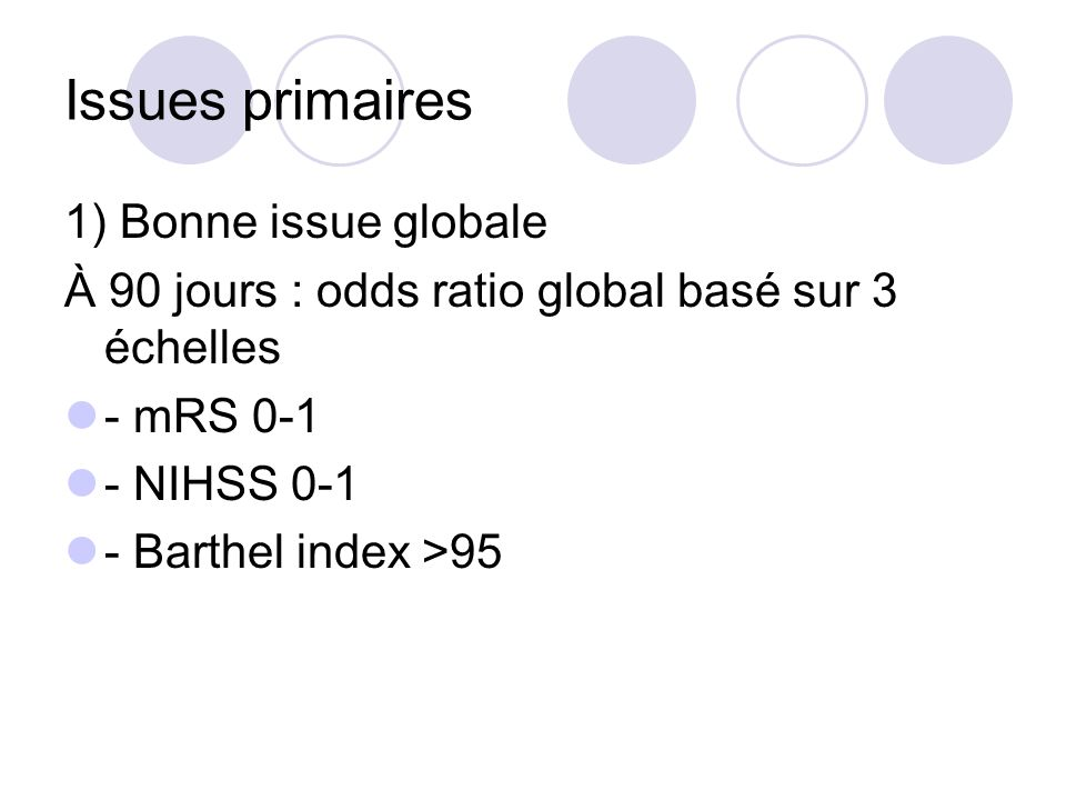 Issues primaires 1) Bonne issue globale