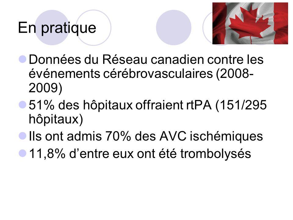 En pratique Données du Réseau canadien contre les événements cérébrovasculaires (2008-2009) 51% des hôpitaux offraient rtPA (151/295 hôpitaux)