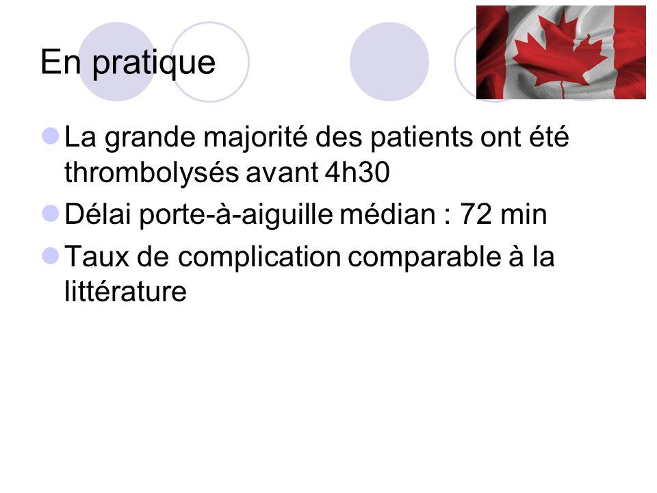 En pratiqueLa grande majorité des patients ont été thrombolysés avant 4h30. Délai porte-à-aiguille médian : 72 min.