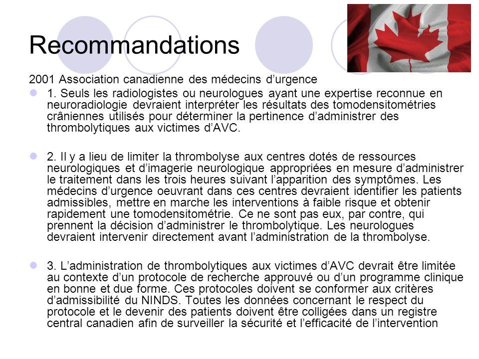 Recommandations 2001 Association canadienne des médecins d'urgence