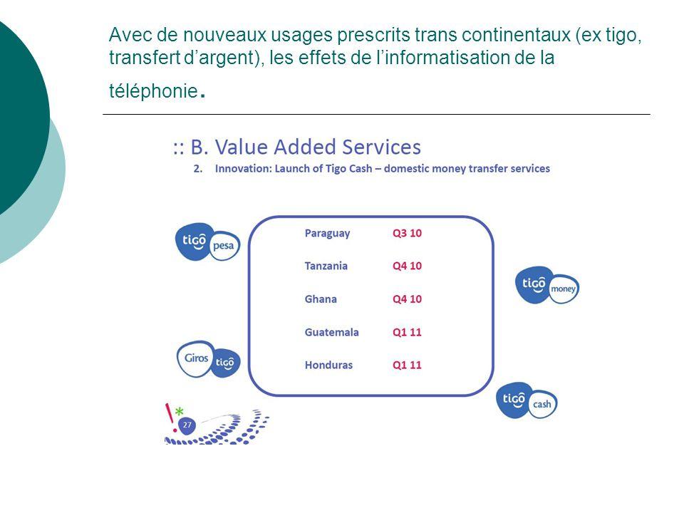 Avec de nouveaux usages prescrits trans continentaux (ex tigo, transfert d'argent), les effets de l'informatisation de la téléphonie.
