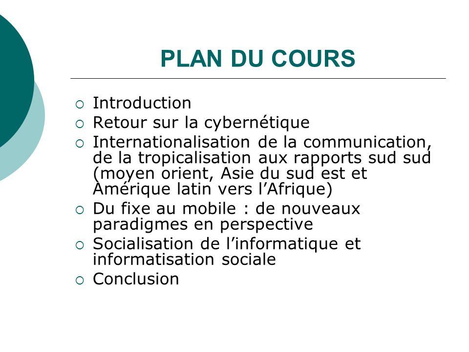 PLAN DU COURS Introduction Retour sur la cybernétique