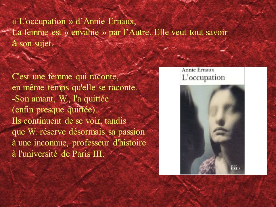 « L occupation » d'Annie Ernaux,