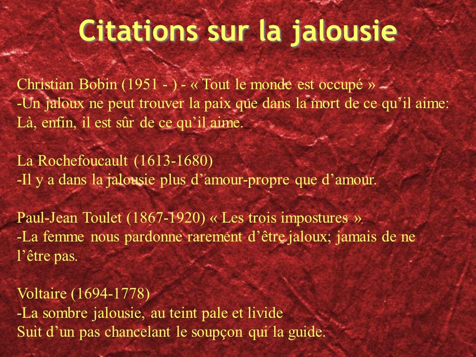 Citations sur la jalousie