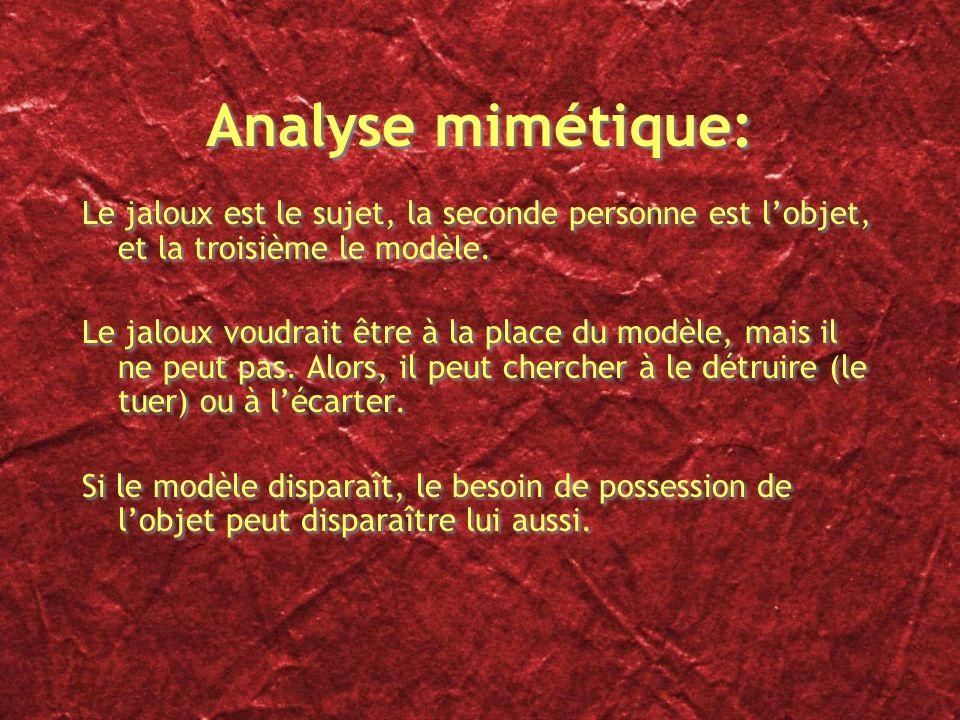 Analyse mimétique: Le jaloux est le sujet, la seconde personne est l'objet, et la troisième le modèle.