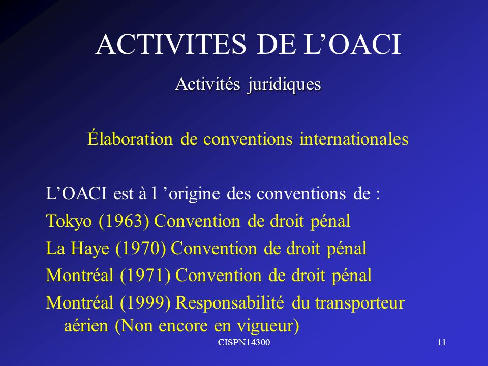 Élaboration de conventions internationales