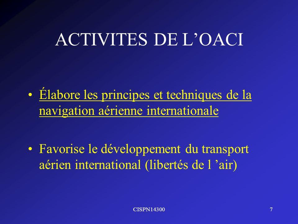 ACTIVITES DE L'OACI Élabore les principes et techniques de la navigation aérienne internationale.