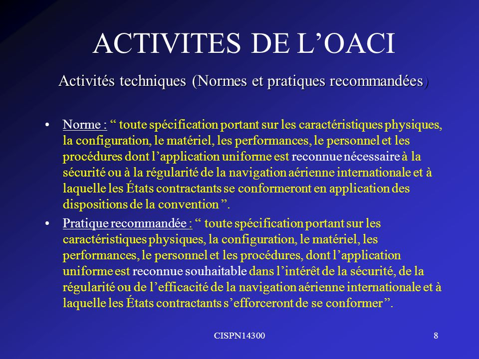 Activités techniques (Normes et pratiques recommandées)