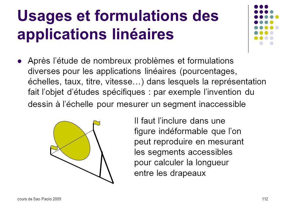 Usages et formulations des applications linéaires