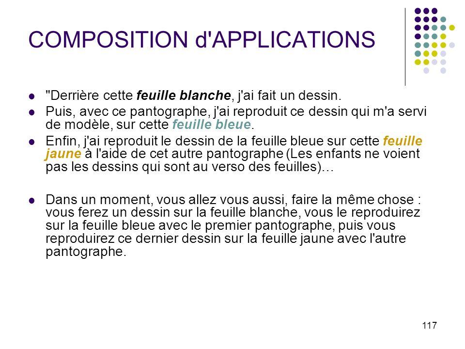 COMPOSITION d APPLICATIONS