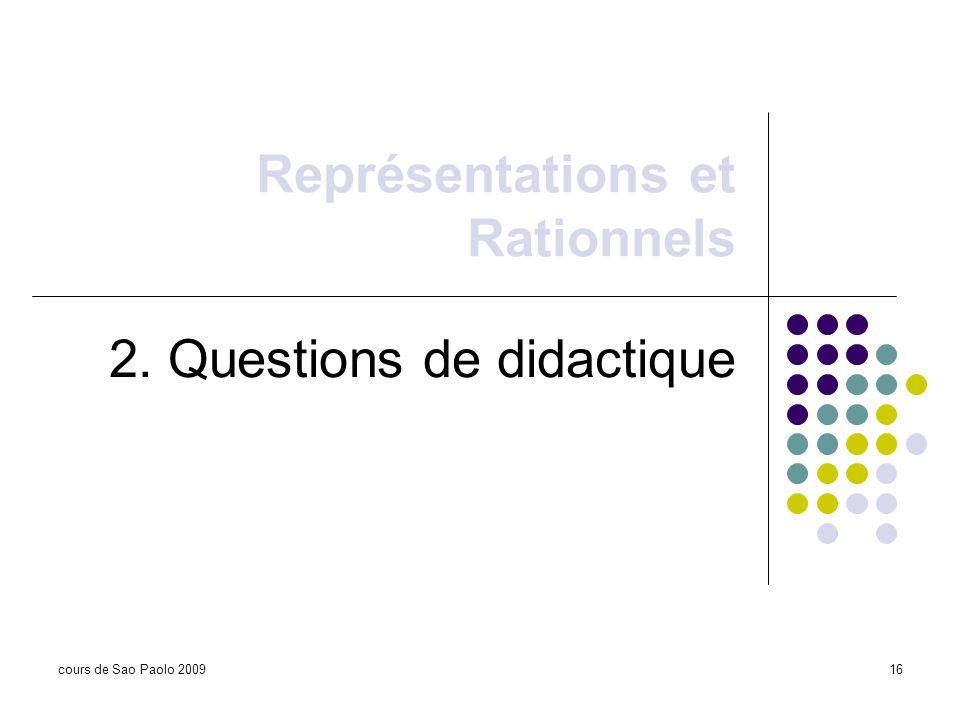 Représentations et Rationnels