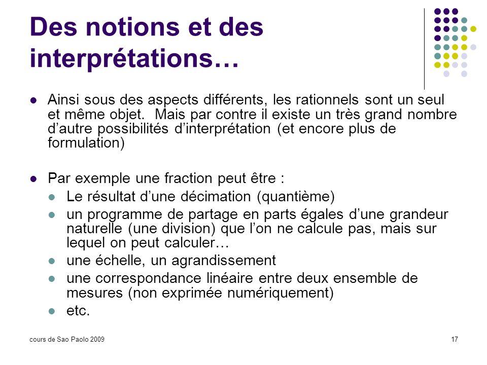 Des notions et des interprétations…