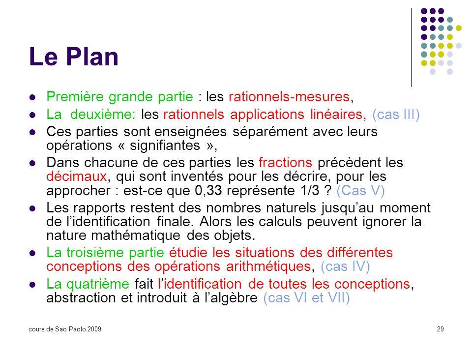 Le Plan Première grande partie : les rationnels-mesures,
