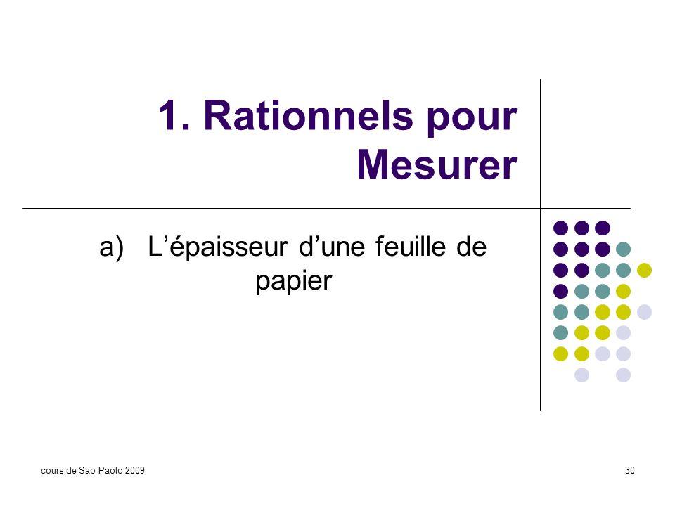 1. Rationnels pour Mesurer