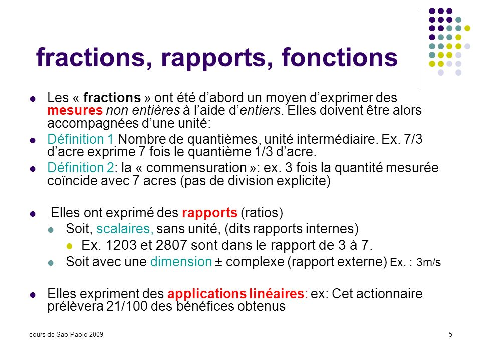 fractions, rapports, fonctions