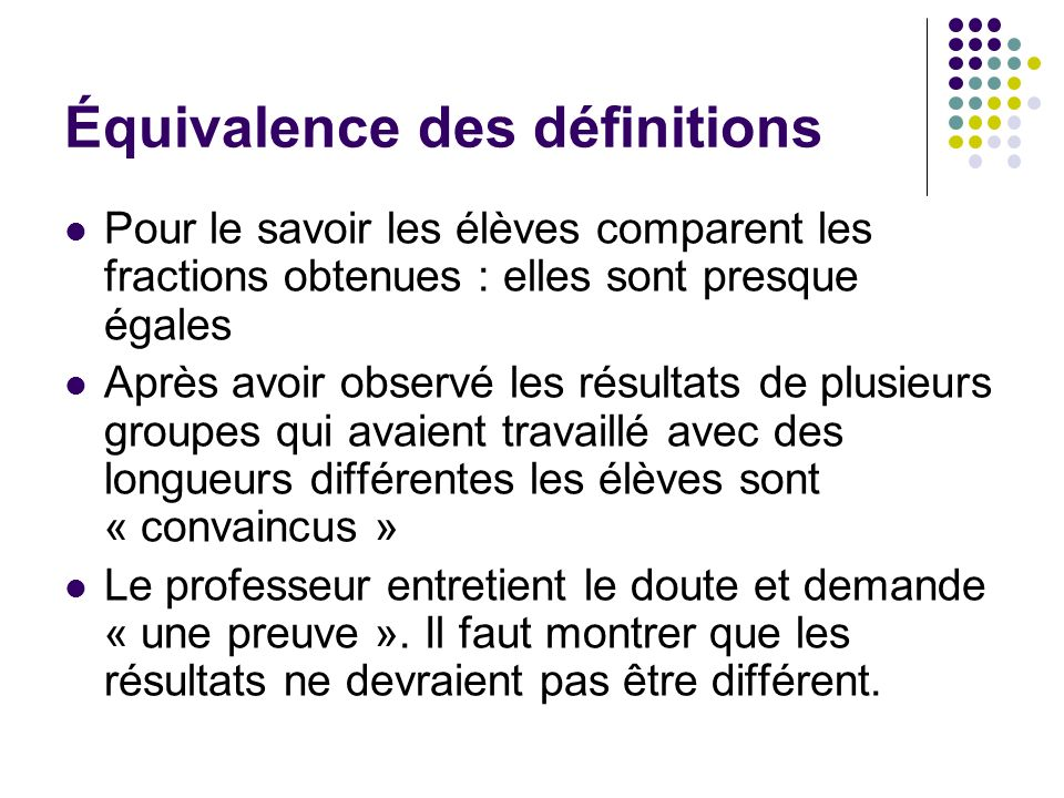 Équivalence des définitions