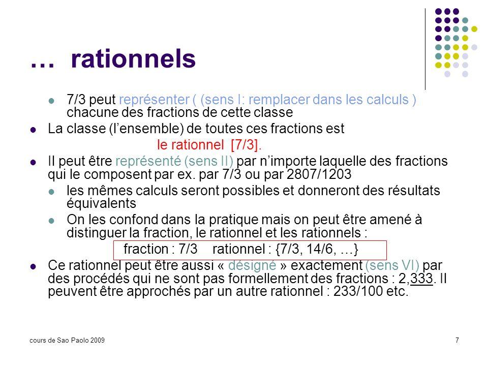 … rationnels 7/3 peut représenter ( (sens I: remplacer dans les calculs ) chacune des fractions de cette classe.