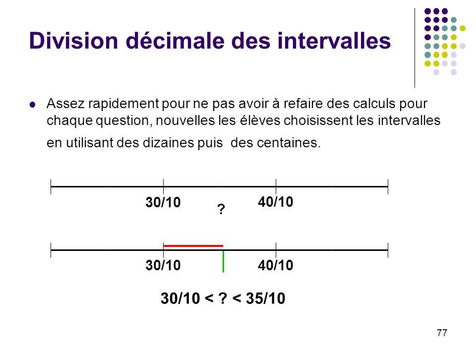 Division décimale des intervalles
