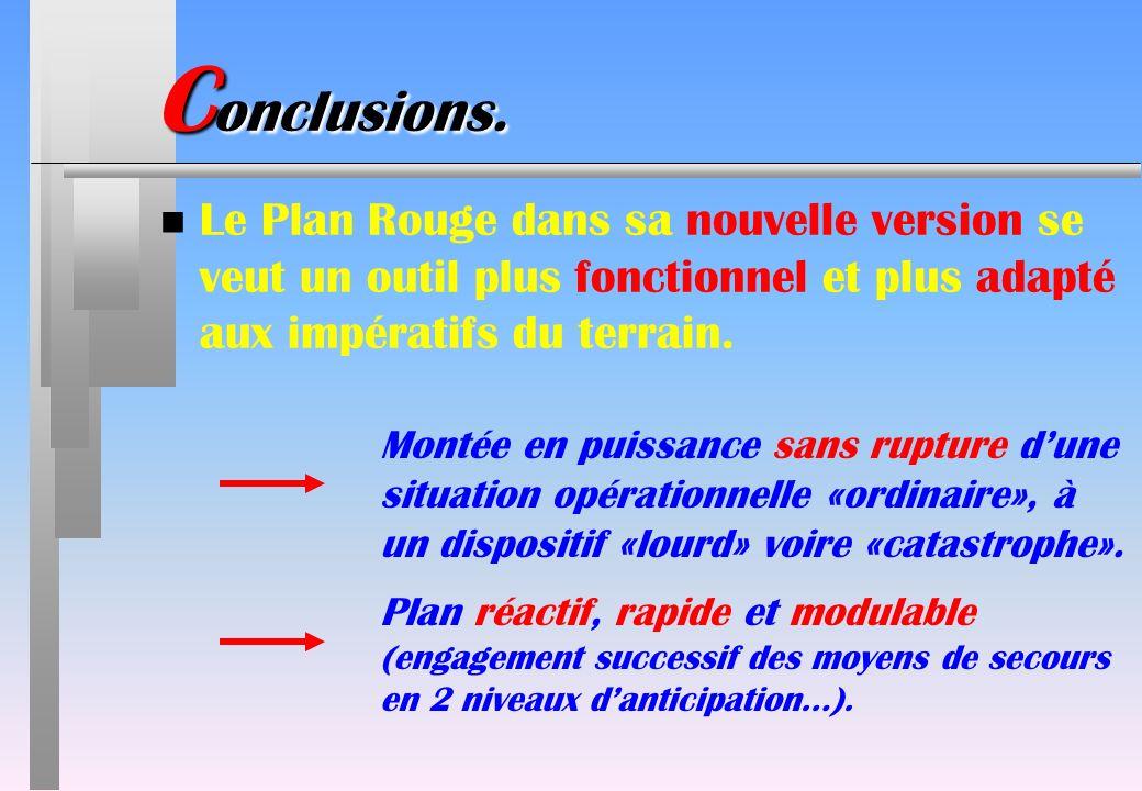 Conclusions. Le Plan Rouge dans sa nouvelle version se veut un outil plus fonctionnel et plus adapté aux impératifs du terrain.
