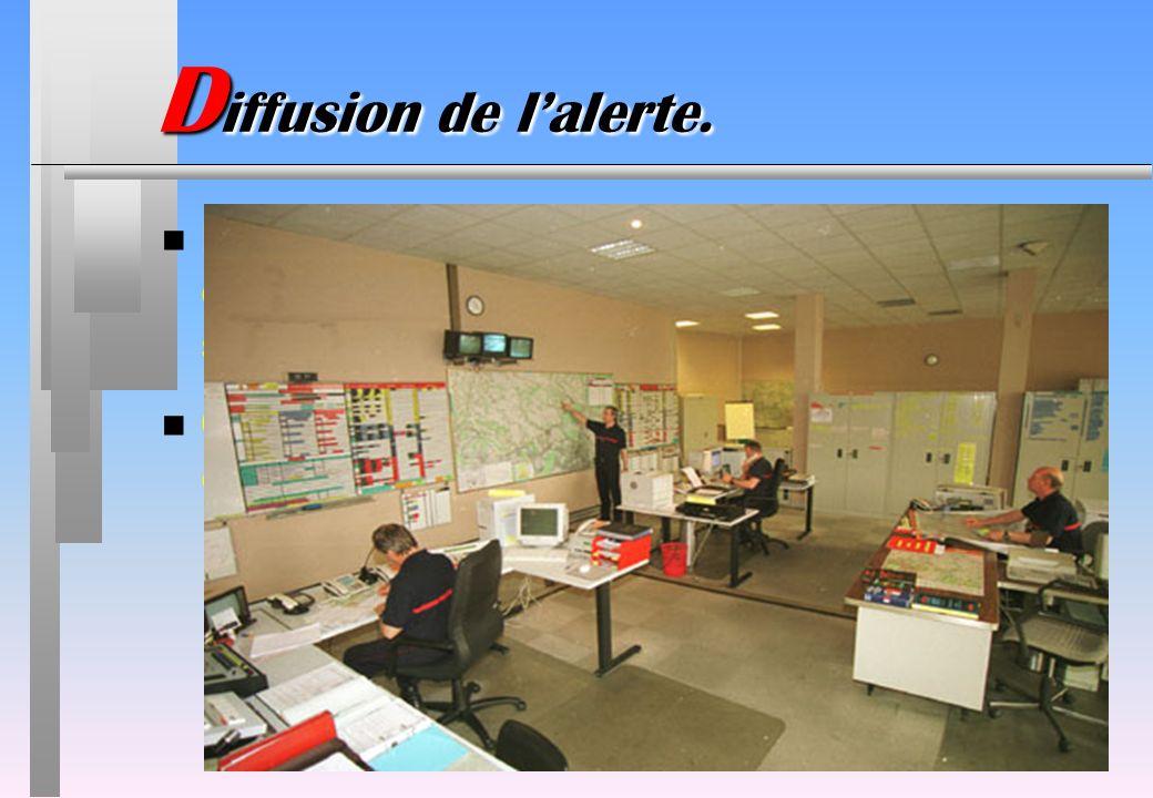 Diffusion de l'alerte.L'alerte est lancée par le témoin d'un sinistre ou par le 1er intervenant d'un service de secours.