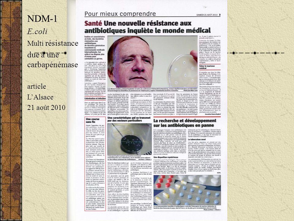 NDM-1 E.coli due à une carbapénémase Multi résistance article L'Alsace