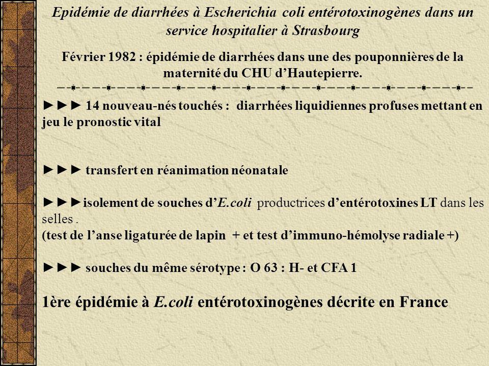 1ère épidémie à E.coli entérotoxinogènes décrite en France