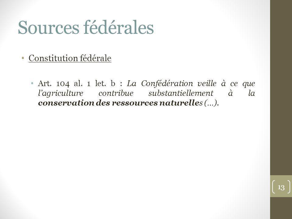 Sources fédérales Constitution fédérale