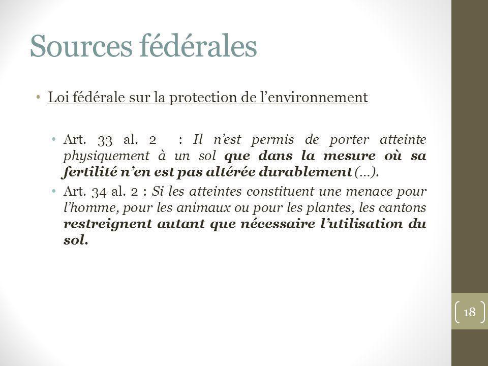 Sources fédérales Loi fédérale sur la protection de l'environnement
