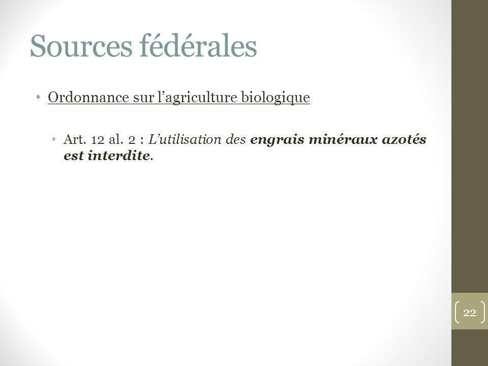 Sources fédérales Ordonnance sur l'agriculture biologique