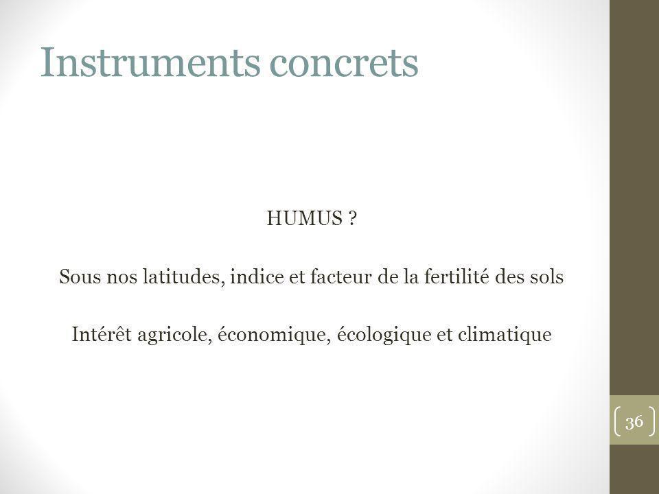 Instruments concrets HUMUS