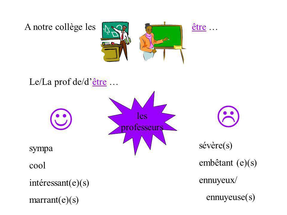 L J A notre collège les être … Le/La prof de/d'être … les professeurs